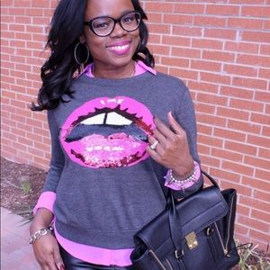 Forever 21 Sweaters - Sequins Lip Sweater
